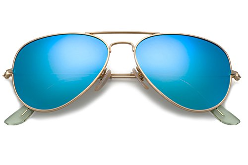 YuFalling Polarized Aviator Kids Sunglasses for Girls and Boys Age 5-12 (gold frame/ice blue lens, 52)