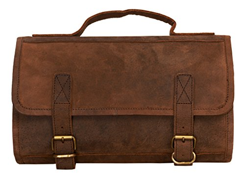 00e9cc0e9750 KOMALC Genuine Buffalo Leather Hanging Toiletry Bag Travel Dopp Kit