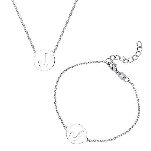 Silver Bracelet Belle Sterling (Sterling Silver Italian High Polish Intitial 'J' Disc Cut-Out Bracelet & Necklace Set)