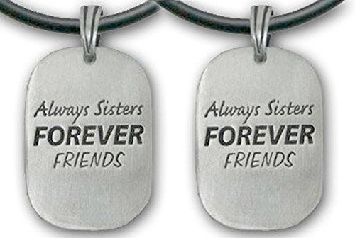 Price comparison product image (Set of Two) - Always Sisters Forever Friends Pendant Necklaces. Pewter piece with PVC rope chain is a great gift idea for an older big sister or a younger little sister! (Sibling Sister Friendship Jewelry Dog Tag Style - Sister jewelry / sister gifts)