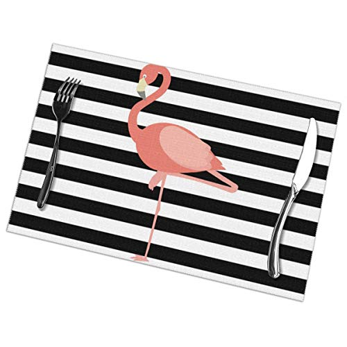 - Nice Music Flamingo Printable 6 Piece Set of Placemats Pc Party Kitchen Dining Room Home Table Place Mat Patio Holidays Decorations Decor Ornament Themed Print Pattern Kid Girls