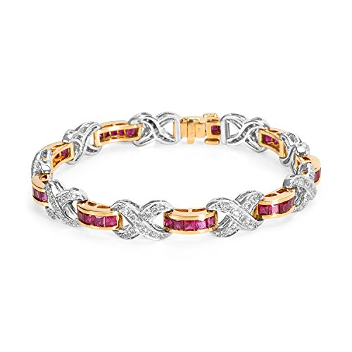 BRAND NEW Ruby & Diamond Bracelet in 18k Two-Tone Gold (2.10 CTW) by Loved Luxuries