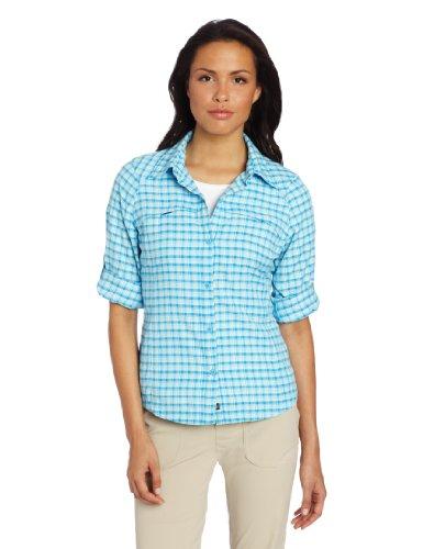 Columbia Women's Silver Ridge Plaid Long Sleeve Shirt, X-Large, Riptide/Small Plaid