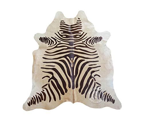 Zebra Brown on Beige Cowhide Rug, Large Size 6ft. x 7ft. 180cm x 210cm - Brazilian