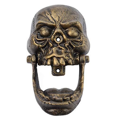 Cast Iron Skeleton Head Doorknocker Gold Skull Door Knocker -