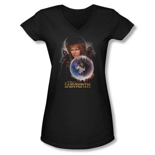 Labyrinth - Junior's V-Neck Shirt I Have a Gift, Large, Black