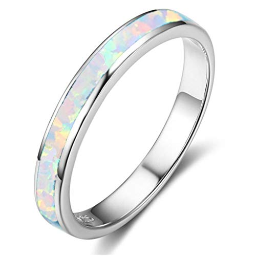 MOONQING Minimalist Style Ring Opal Ring Wedding Ring Classic Elegant Ring Engagement Ring,Colorful 9