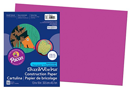 "Pacon SunWorks Construction Paper, 12"" x 18"", 50-Count, Magenta"