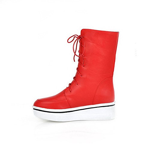 AllhqFashion Mujeres Pu Caña Baja Sólido Puntera Redonda Cordones Tacón Alto Botas Rojo