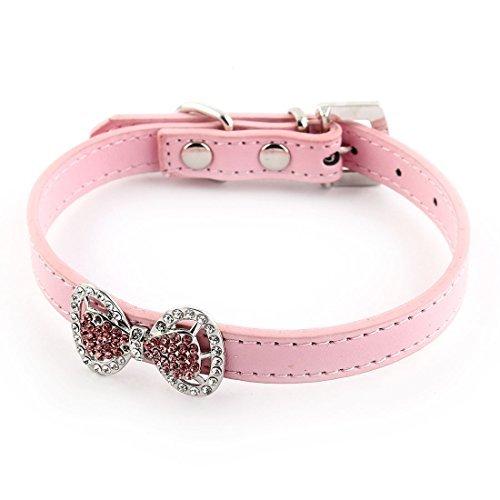 eDealMax Forma decoracin Bowknot imitacin de Diamantes de imitacin Con incrustaciones Ajustable Collar del gato del perro casero