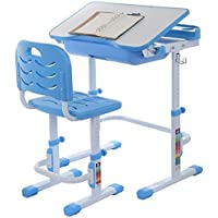 OKBOP Kids Desk and Chair Set, Students Study Desk for School Home, Height Adjustable Children Writing Table with Tiltable Tabletop and Pull-Out Drawer for Boys Girls (Blue)