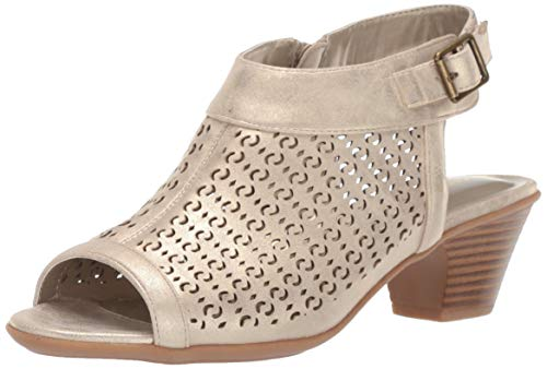 Easy Street Women's Jill Dress Casual Sandal with Cutouts Heeled, Gold 8 W US from Easy Street