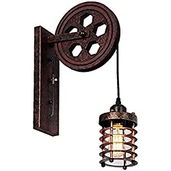 Kiven Nautical Lights Industrial Pulley Wall Sconce Steampunk Wall Light Rustic Lighting