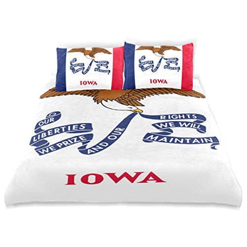 SUABO 3 Pieces Duvet Cover Set Twin Size Comforter Cover Iowa Ultra Soft Bedding Duvet Cover for Kids