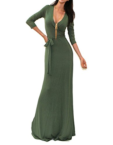 18' Olive (Vivicastle Solid V-neck 3/4 Sleeve Wrap Waist Long Maxi Dress (MEDIUM, OLIVE))
