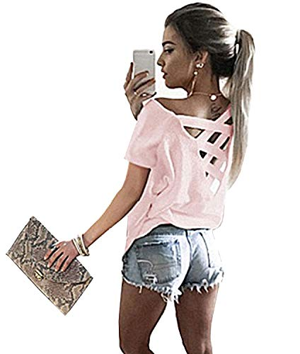 Yingkis Women's Cut Out Loose Pullover Criss Cross Backless Shirt Top,Pink XL (Open Back Pink Dress)