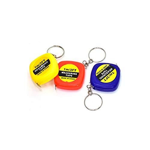 TOP 1pc 1m/3ft Easy Retractable Ruler Tape Measure Mini Portable Pull Ruler Keychain Color Random