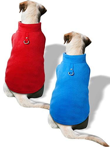 SATINIOR 2 Pieces Small Dog Pullover Fleece Jacket with Leash Ring Fleece Vest Dog Winter Sweater Dog Jacket