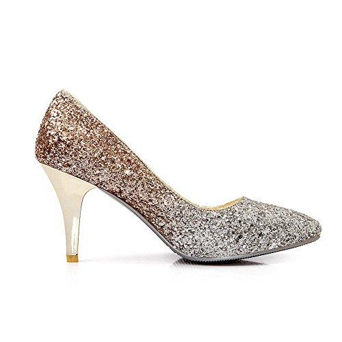 Amoonyfashion Femmes Paillettes Assorties Couleur Pull-on Pointu Bout Fermé Talons Hauts Pompes-chaussures Rose