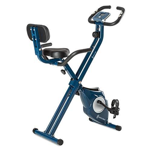 Klar FIT Klarfit Azura [CF/Pro] X-Bike - Bicicleta Fija, Bicicleta estática, medidor de Pulso, Peso a rotar de 3 kg, Opcional: Respaldo y Soporte Lateral, Asiento ergonómico, máx. 100kg, Azul a buen precio