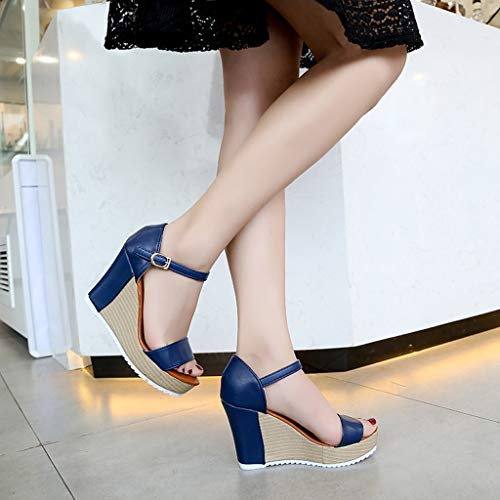 Estate Scarpe Tacco Zeppa Retro Eleganti Blu Donne Spiaggia Romane Sandali Donna Aperta Meibax Con Pantofole Punta 1wB0TB