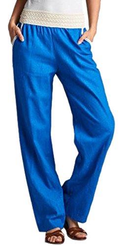 Linen Blend Bootcut Pants - 1