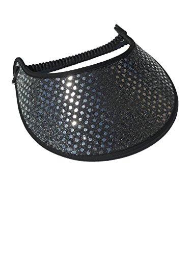 Pickleball - Fashion Fabric Foam Sun Visor for Women - The Sporty Look - Adjustable to Any Size Head - No Pressure & No Headache! | Confetti Silver on Black Glitz w/Trim Design