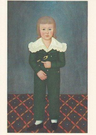 Unused Art Postcard Boy with Finch by Unknown American Artist around 1800