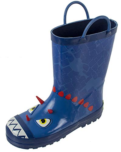 Rainbow Daze Kids Rubber Rain Boots, Brach The Blue Dinosaur, Waterproof, Blue Red, Little Kid Size 11/12