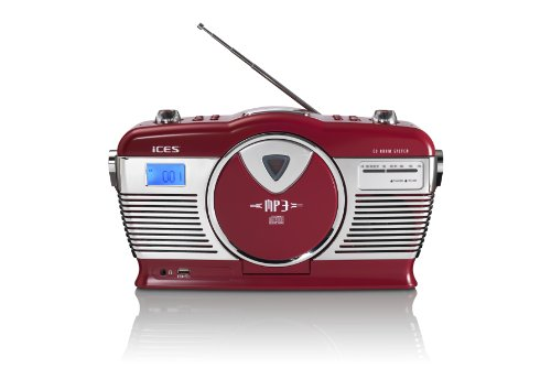 iCES ISCD-33 draagbare retro radio – CD/MP3-speler – 20 titelgeheugens – FM-radio – USB-weergave – 3,5 mm…