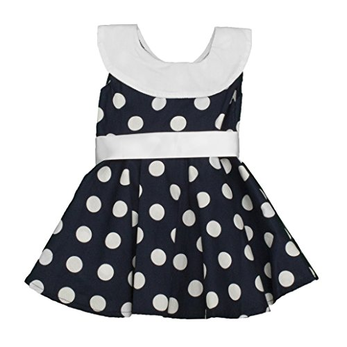 - Girls Navy & White Polka Dot A-Line Sundress with Ribbon Sash-2T
