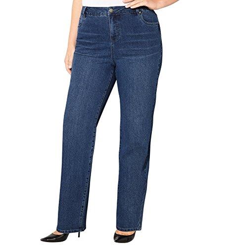 -AVENUE Women's Delux Stretch Straight Leg Jean (Med. Wash), 14 Medium Wash