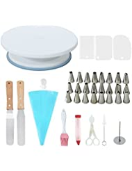 Rotating Cake Stand Cake Decorating Turntable Supplies with 24 Stainless Steel Tips, 3 Icing Smoother, 1 Pastry Bag, Cake Tip Brush, Cake Flower Lifter, Cake Flower Nail, Coupler, Cake Decorating Pen