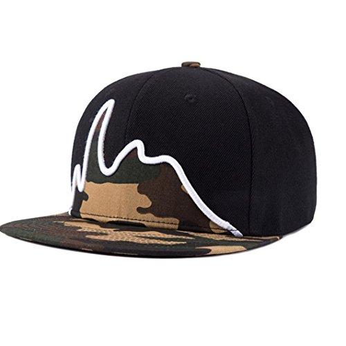 Amlaiworld Embroidery Cotton Baseball Cap Snapback Caps Hip Hop Hats (schwarz)