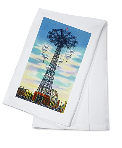 (Coney Island, New York - Steeplechase Park Parachute Jump Daytime Scene (100% Cotton Kitchen Towel))