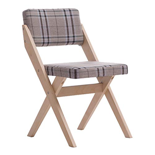 - Folding Chair Solid Wood Back Support Furniture Desk Dining Chair Leisure Discussion Reception Chair - Lattice Cushion Dining Stools for Office Lounge Dining Kitchen