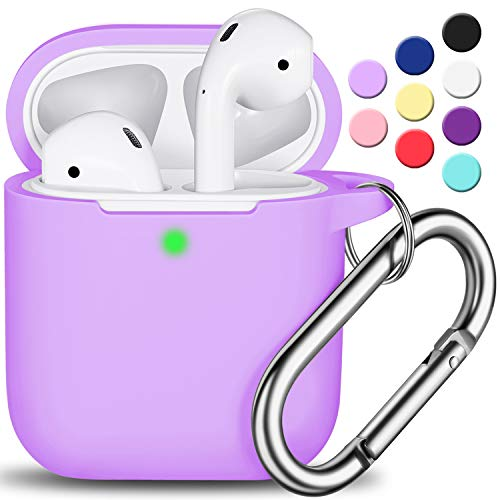 AirPods Case Cover with Keychain, Full Protective Silicone AirPods Accessories Skin Cover for Women Girl with Apple AirPods Wireless Charging Case,Front LED Visible-Lavender