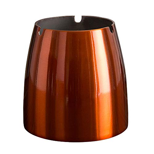 OILP Large Ashtray for Cigarettes Outdoor Windproof Ashtrays for Patio Beautiful Tabletop Decorative Stainless Steel Ashtray for Home/Office(Large,Orange)
