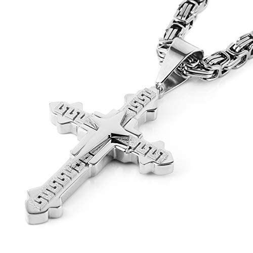 HZMAN Men's Stainless Steel Silver/Gold Greek Key Cross Pendant Necklace Mechanic Style 22 24 30
