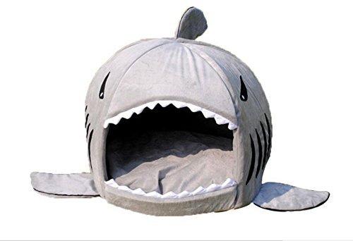 Pet bed, KAMIER Shark Round Washable Soft Cotton Dog Cat Pet Bed-Grey,L by KAMIER