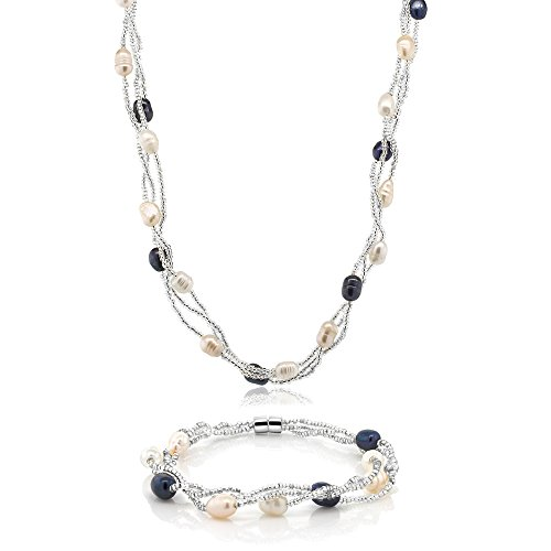 Cultured Pearl Twisted Necklace (Multi-Color 8X5mm Cultured Freshwater Pearl Twisted Necklace & Bracelet Set)