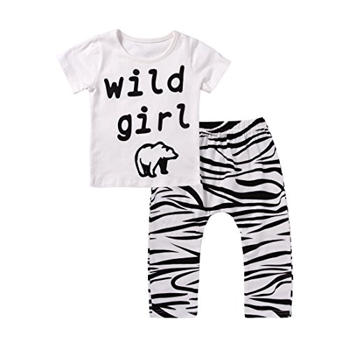 2PCs Baby Girl Wild Girl Print T-Shirt Top Zebra Pattern Long Pant Clothing Set (6-12M(Tag80), (Zebra Print Baby)
