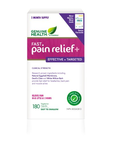 fast pain relief (formerly fast back care+) With NEM Natural Eggshell Membrane (180 Capsules) Brand: Genuine Health by Genuine Health by Genuine Health