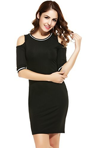 Zeagoo Women Open Shoulder 1/2 Sleeve Baseball Bodycon Dress 41FYZRpmIWL