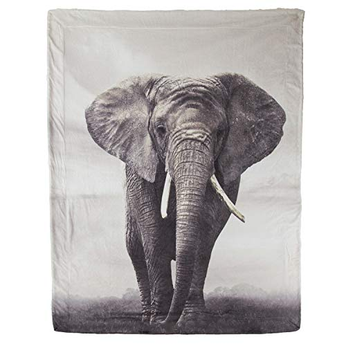 Bedsure Elephant Sherpa Throw Blanket Animal Bedding Blanket 50x60 Reversible Throw Fuzzy Microfiber Blanket by Bedsure