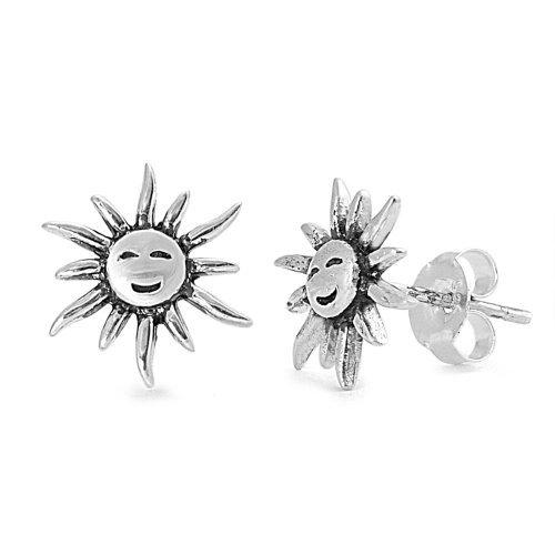 Smiling Sun Stud Earrings Sterling Silver - 11mm -
