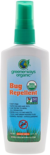 Greenerways Organic, Insect Repellent, Premium, USDA Organic, Non-GMO, Natural, Mosquito-Repellent, Bug Repellant, Bug Spray, Clothing Safe, Kid Safe, Pet Safe, Baby Safe, DEET-FREE, Pest Control, 4OZ
