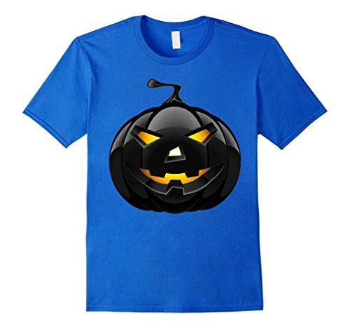 Mens Scary Black Pumpkin T-Shirt Retro Halloween Costume Idea 3XL Royal -