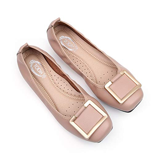 Meimeioo Womens Ballet Flats Comfort Square Buckle Slip On Fashion Dress Shoes