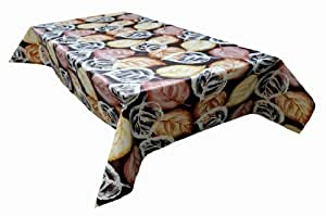 MG Oilcloth-Tablecloth Washable Autumn Leaves Black-Brown-Violet ( 176-01 ) - 220 X 140 Cm